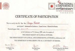 Certificate for Hypnosis course